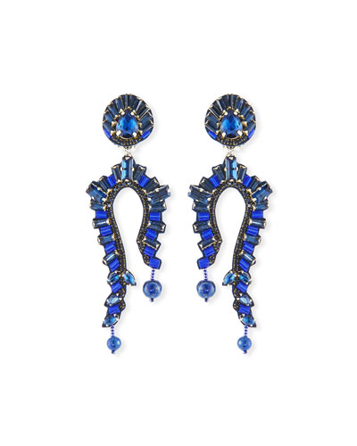 Lapis Clip-On Statement Earrings
