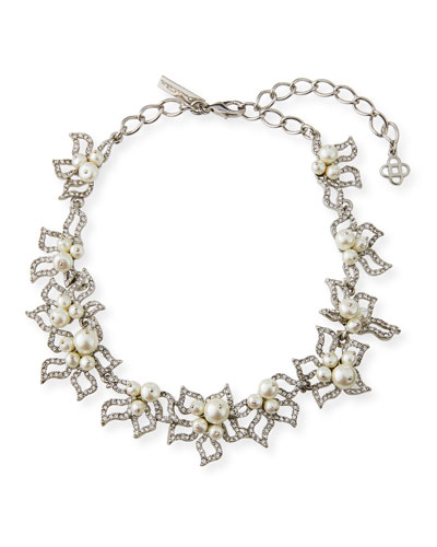 Pave Petal Collar Necklace
