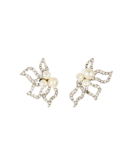Oscar de la Renta Pave Petal Earrings