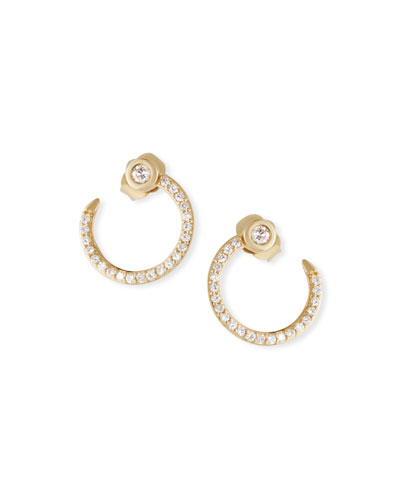 14k Gold Diamond Nail Hoop Earrings