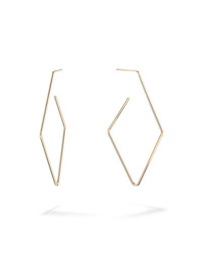 14k Gold Diamond-Shaped Hoop Earrings