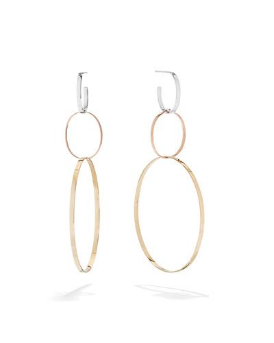 14k Tricolor Gold 3-Link Hoop Earrings