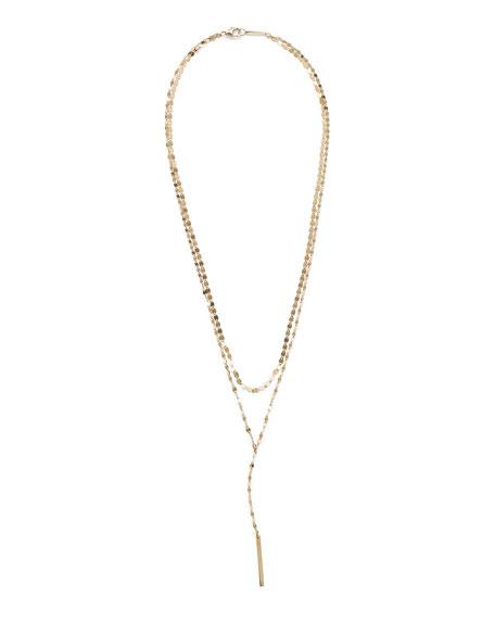 LANA 14k Gold Nude Blake Layered Lariat Necklace