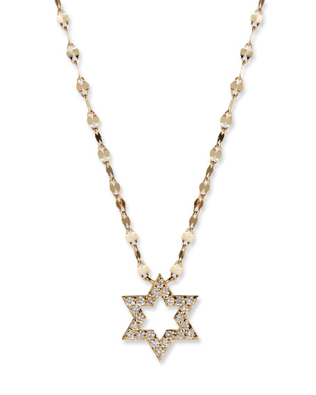 Flawless 14k Diamond Star of David Necklace
