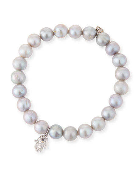 8mm Pearl & Diamond Hamsa Bracelet