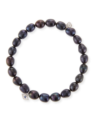 14k White Gold Pearl & Evil Eye Bracelet