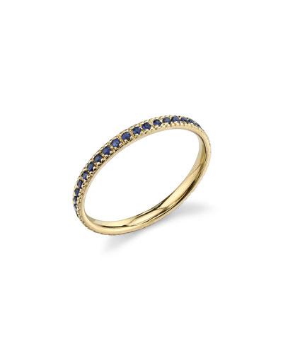 14k Gold Eternity Band Ring with Blue Sapphires