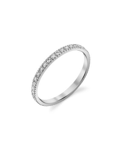 14k White Gold Diamond Eternity Band, Size 6.5