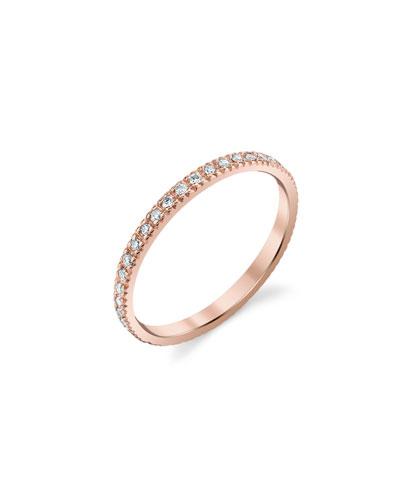 14k Rose Gold Diamond Eternity Band, Size 6.5
