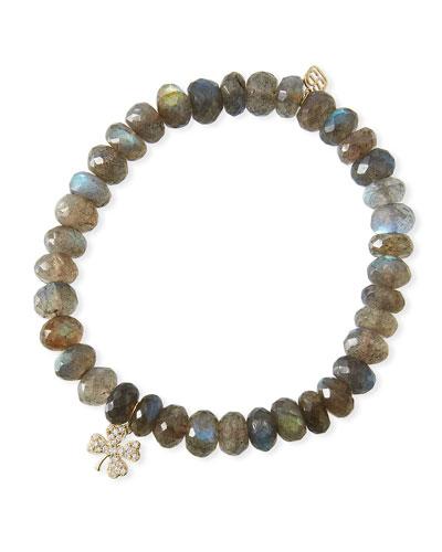 Labradorite & Diamond Clover Bracelet