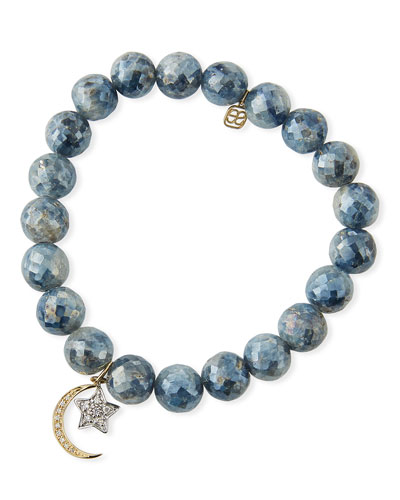 Mystic Kyanite Bead Bracelet with Diamond Moon/Star Charms