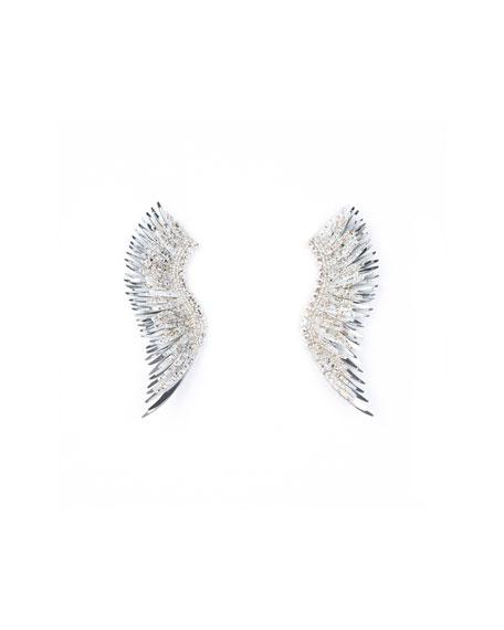 MIGNONNE GAVIGAN Madeline Paint-Splatter Statement Earrings in White/Silver