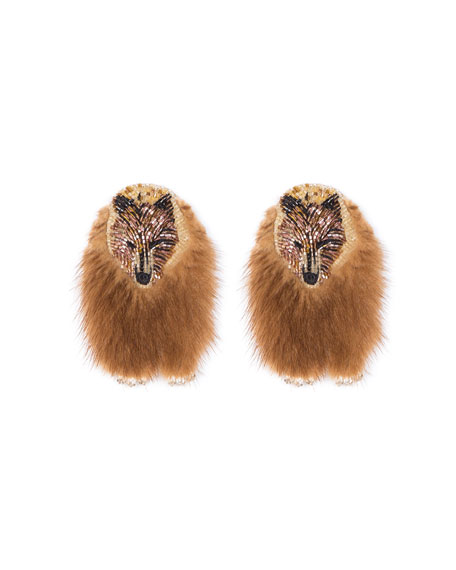 Mignonne Gavigan BEAR FAUX FUR EARRINGS