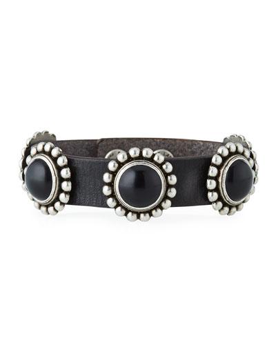 Multi-Cabochon Leather Bracelet