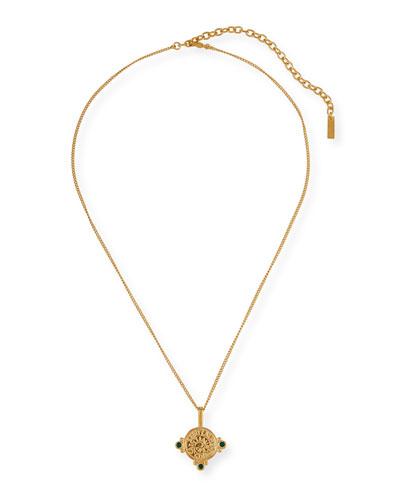 Medallion Pendant Necklace w/ Stones