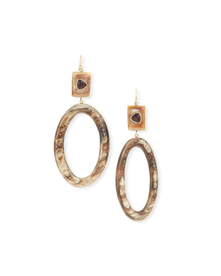 Ashley Pittman Amethyst & Horn Hoop Drop Earrings
