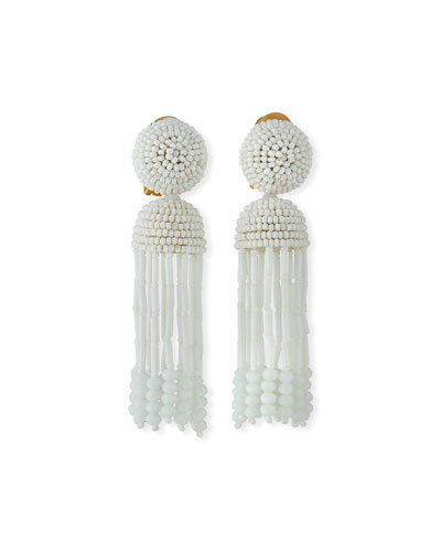 Short Clip-On Beaded Tassel Earrings