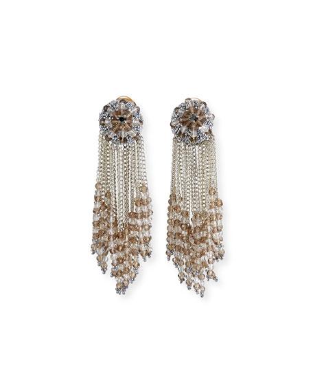 Oscar de la Renta chain Cluster Beaded Earrings