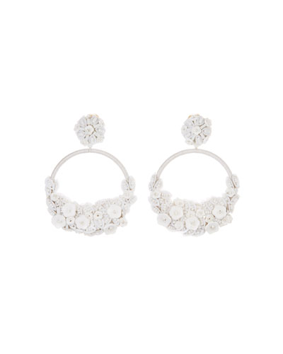 Embellished Flower Clip-On Hoop Earrings