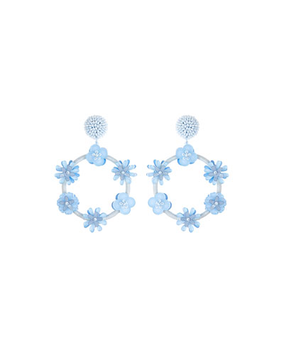 Flower Hoop Drop Clip-On Earrings