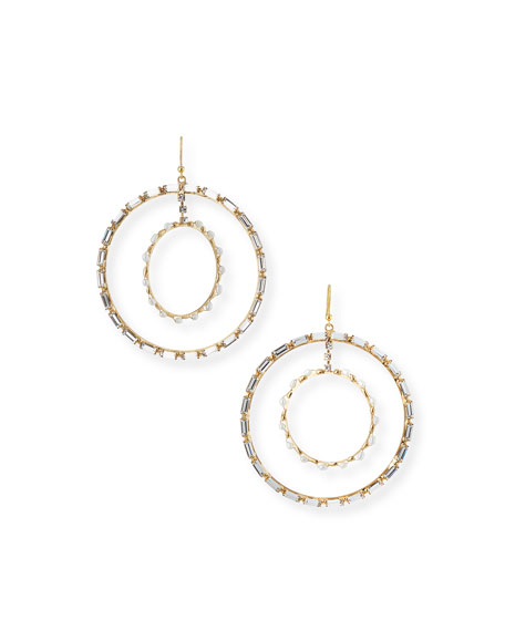 Rosantica CRISTALLO PEARL & CRYSTAL HOOP EARRINGS