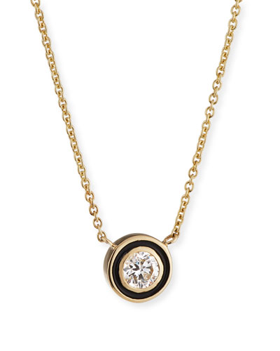 14k Gold Diamond & Enamel Pendant Necklace