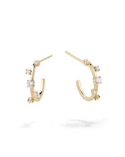 14k Gold & Diamond Solo Hoop Earrings