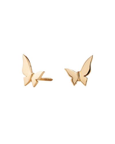 14k Yellow Gold Butterfly Stud Earrings