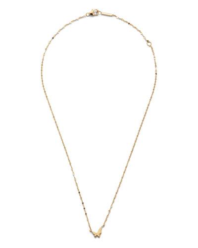 14k Gold Tiny Butterfly Pendant Necklace