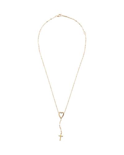 14k Heart Cross Lariat Necklace