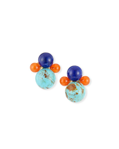 Nova 18k Gold 4-Bead Snowman Clip-On Earrings in Riviera Sky