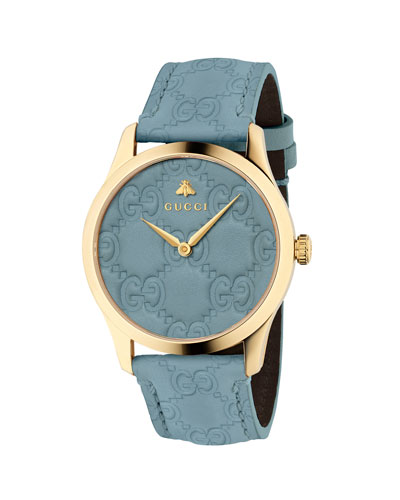 38mm G-Timeless Logo Leather Watch  Blue