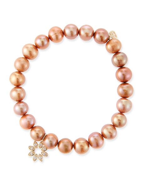 14k Diamond Flower & Pearl Bracelet