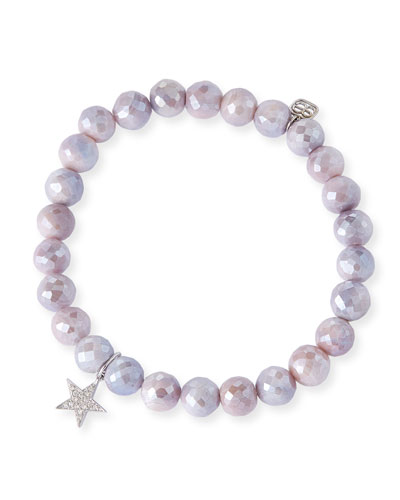 14k White Gold Diamond Star & Moonstone Bracelet