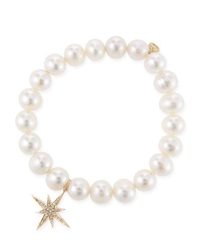 14k Pearl & Diamond Starburst Bracelet