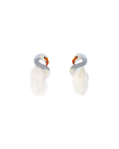 Swan Stud Earrings w/ Feathers