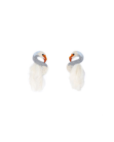 Mignonne Gavigan SWAN STUD EARRINGS W/ FEATHERS