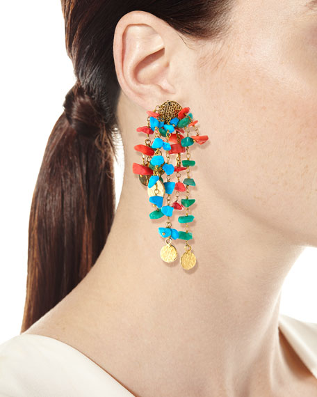 Vento Turquoise & Coral Cluster Earrings