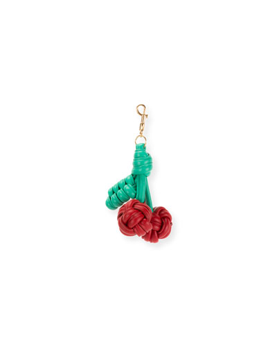 Knotted Leather Cherries Charm