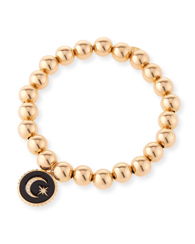 14k Gold Bead & Celestial Diamond Bracelet
