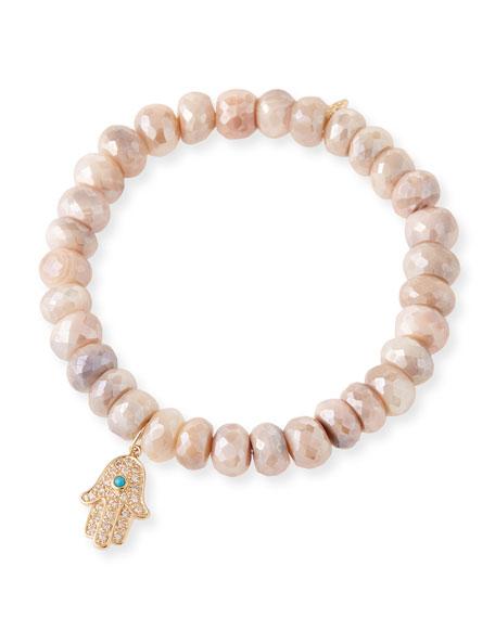 14k Diamond Hamsa & Moonstone Bracelet