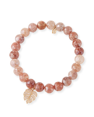 14k Diamond Monstera & Strawberry Quartz Bracelet