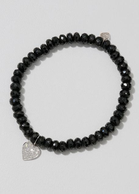 14k White Gold Diamond Heart & Spinel Bracelet