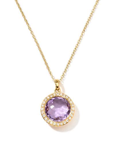 Rock Candy 18k Gold Mini Lollipop Necklace in Amethyst & Diamond