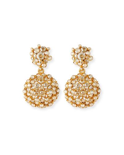 Jeweled Flower Drop Earrings