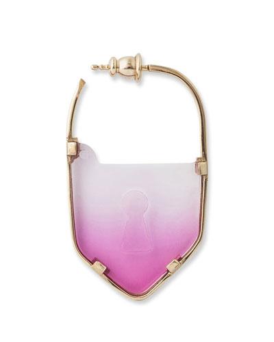 Gold-Plated Resin Padlock Single Earring