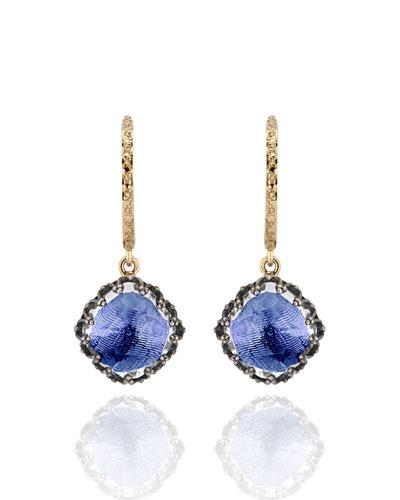 Lady Antoinette Cushion Drop Huggie Earrings  Cobalt