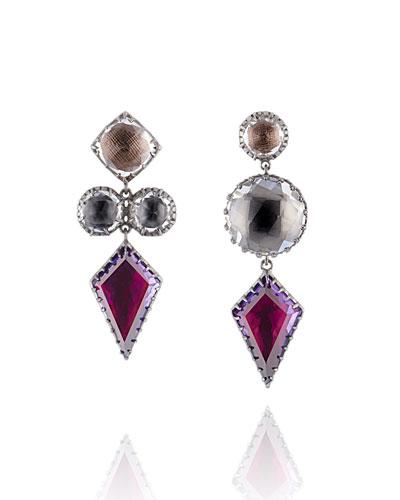 Sadie Mismatched Kite Drop Earrings in Multi-Peony Foil