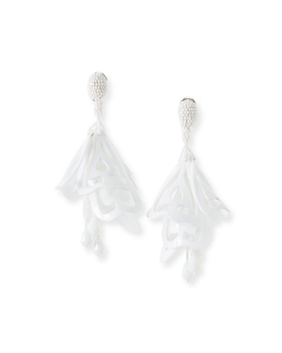 Large Lace Impatiens Flower Drop Earrings