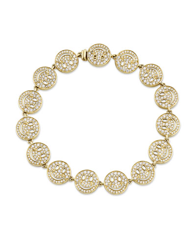 14k Diamond Happy Face Eternity Bracelet